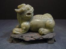 CHINESE CARVED HARDSTONE JADE MYTHICAL BEAST