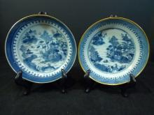 PAIR ANTIQUE CHINESE BLUE WHITE PORCELAIN PLATE QING