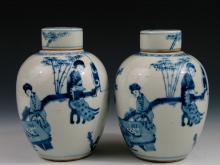 Pair of Antique Chinese Blue and White Porcelain Jars