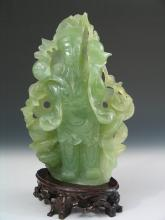 Chinese Carved Serpentine Jade of a Fortune God