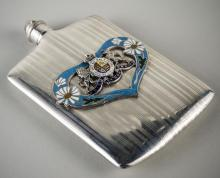 Sterling Silver and Enamel Flask