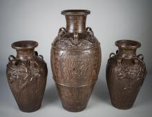 Three Phillipino Brown Glazed Pottery Jars