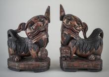 Pair of Carved Wood Foo Dogs