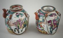 Pair of Chinese Porcealin Teapots