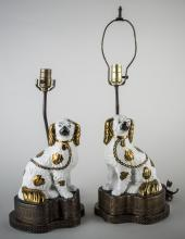 Pair of Staffordshire Pottery Spaniel Lamps