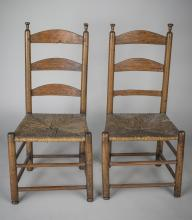 Pair of Ladder Back Rush Seat Side Chairs