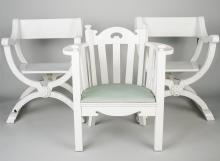 Pair of White Painted Curule Chairs