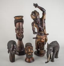 Group of Five Wooden Sculptures