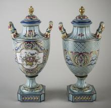 Pair of Vienna Style Porcelain Urns