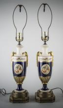 Pair of Sevres Style Porcelain Urn Lamps