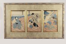 Antique Japanese Tryptic