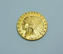 1913 2 1/2 DOLLAR INDIAN GOLD COIN