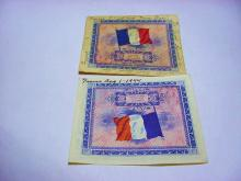 [2] 1944 FRENCH SHORT SNORTER BANKNOTES