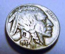 1937 COUNTERMARKED B ON BUFFALO NICKEL