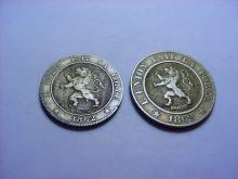 1862 BELGIUM 5 CENTIMES & 10 CENTIMES