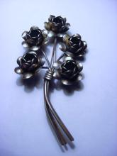 CORO CRAFT STERLING FLORAL PIN