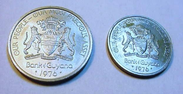 1976 GUYANA   50 CENTS & 25 CENTS