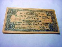 1942 PHILIPINES EMERGENCY 25 CENTAVOS BANKNOTE