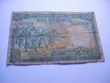 1941 BELGIAN CONGO 10 FRANCS BANKNOTE