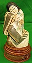 Ivory Sculpture, Lady , Polychrome,signed