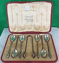 English Silver Spoons w/ box By James Dixon 1930