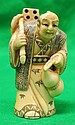 Old Ivory Netsuke Mandarin Man w/ Mask Signed