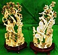 Old Pair of Ivory Sculptures Lady and Warrior