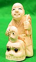 Old Ivory Netsuke Man with Mask