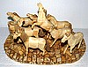 Eight Bone Carvings of Horses on Base