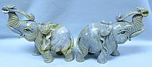 Pair of Stone Elephants China - H: 9
