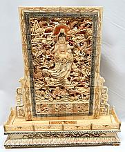 Bone carving Chinese Screen. Signed