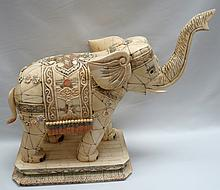 Elephant Polychrome Figure Carved Bone China