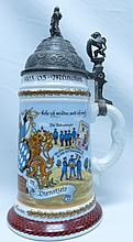 Regimental Beer Stein Lithophane  Germany H: 10