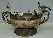 Bronze & Ceramic Center Piece w/ Birds