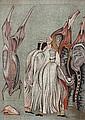 Mikhail CHEMIAKIN (1943)   Les bouchers  Lithographie en couleurs sur papier.  Signé en bas à droite. Numéroté 176/225 en bas à gauche.  76 x 53 cm