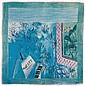Raoul DUFY (1877-1953), d'après  Hommage à Mozart  Foulard en soie imprimé  en neuf couleurs, rouloté main  HOREV Paris Editeur  90 x 90 cm