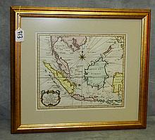 Antique framed map of the Island of Java Sumatra borneo