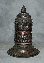Antique Nepal mixed medal jeweled prayer wheel. H:13
