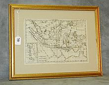 Vintage map in gilt frame of East indies. Site Size