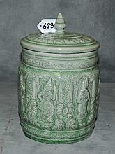 Thai Celedon porcelain covered jar. H:9.5