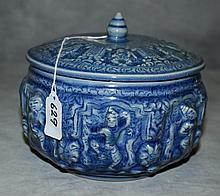Thai blue celedon porcelain lidded jar. H:6.5