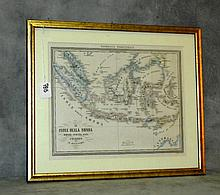 Vintage map in gilt frame of East Indies . Site size