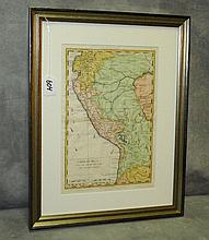 Antique hand colored engraved map of Carte Du Perou.