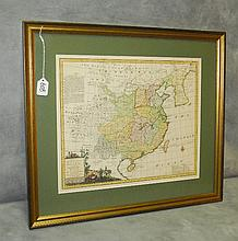 Antique hand color engraved map of China. Site size