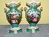 Pair 19th c Old Paris painted porcelain vases marked JP