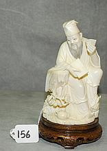 19th C Chinese ivory figure of a wiseman on a wood