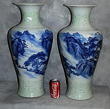 Lg pair Chinese blue and white porcelain vases