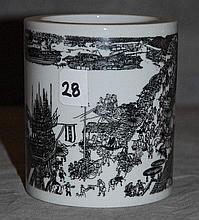 Chinese export porcelain brush pot
