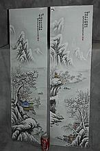 Pair Chinese porcelain plaques of snow scenes, signed