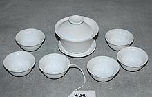 7 piece Chinese blan de chine porcelain tea set